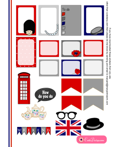 Free Printable London themed Stickers for Happy Planner page 2
