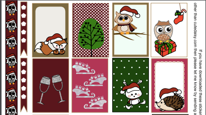 Free Printable Owl themed Christmas Stickers for Classic Happy Planner
