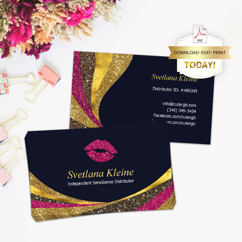 LipSense Business Card with Glitters for MakeUp Artist - CuteRGB