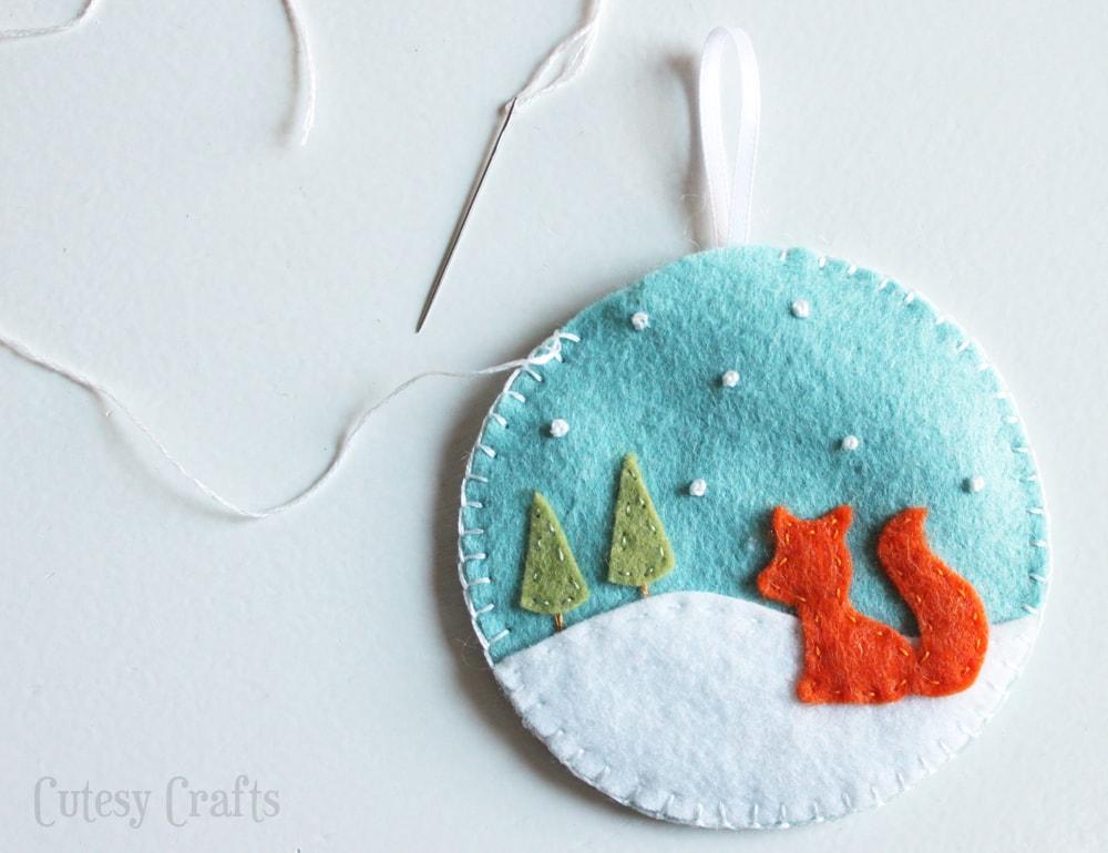 Deer and Fox Felt Christmas Ornaments - Cutesy Crafts - felt christmas decorations