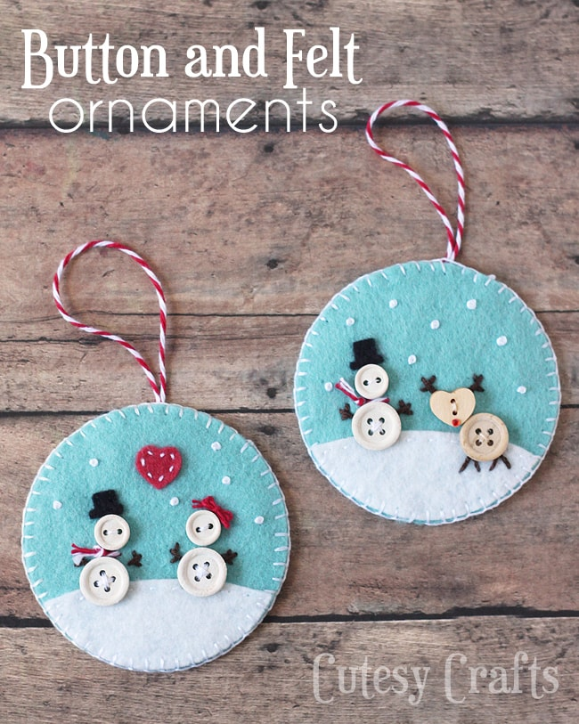 Button and Felt DIY Christmas Ornaments - Cutesy Crafts - felt christmas decorations