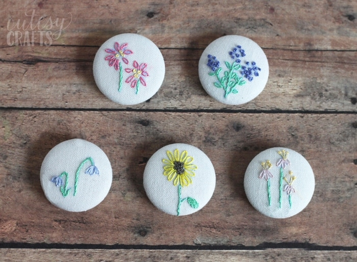 Diy Magnets With Flower Embroidery Patterns - Cutesy Crafts