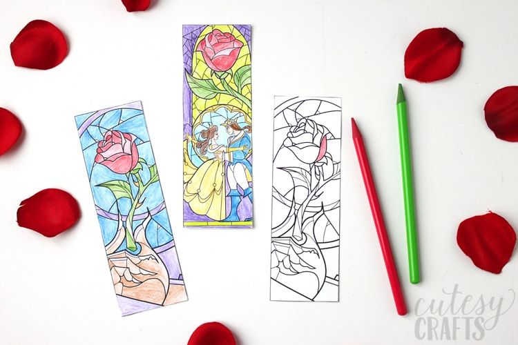 Beauty and the Beast Coloring Page Bookmarks - Cutesy Crafts