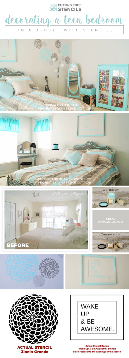 Girls Teen Room Decorating A Teen Bedroom On A Budget With Stencils