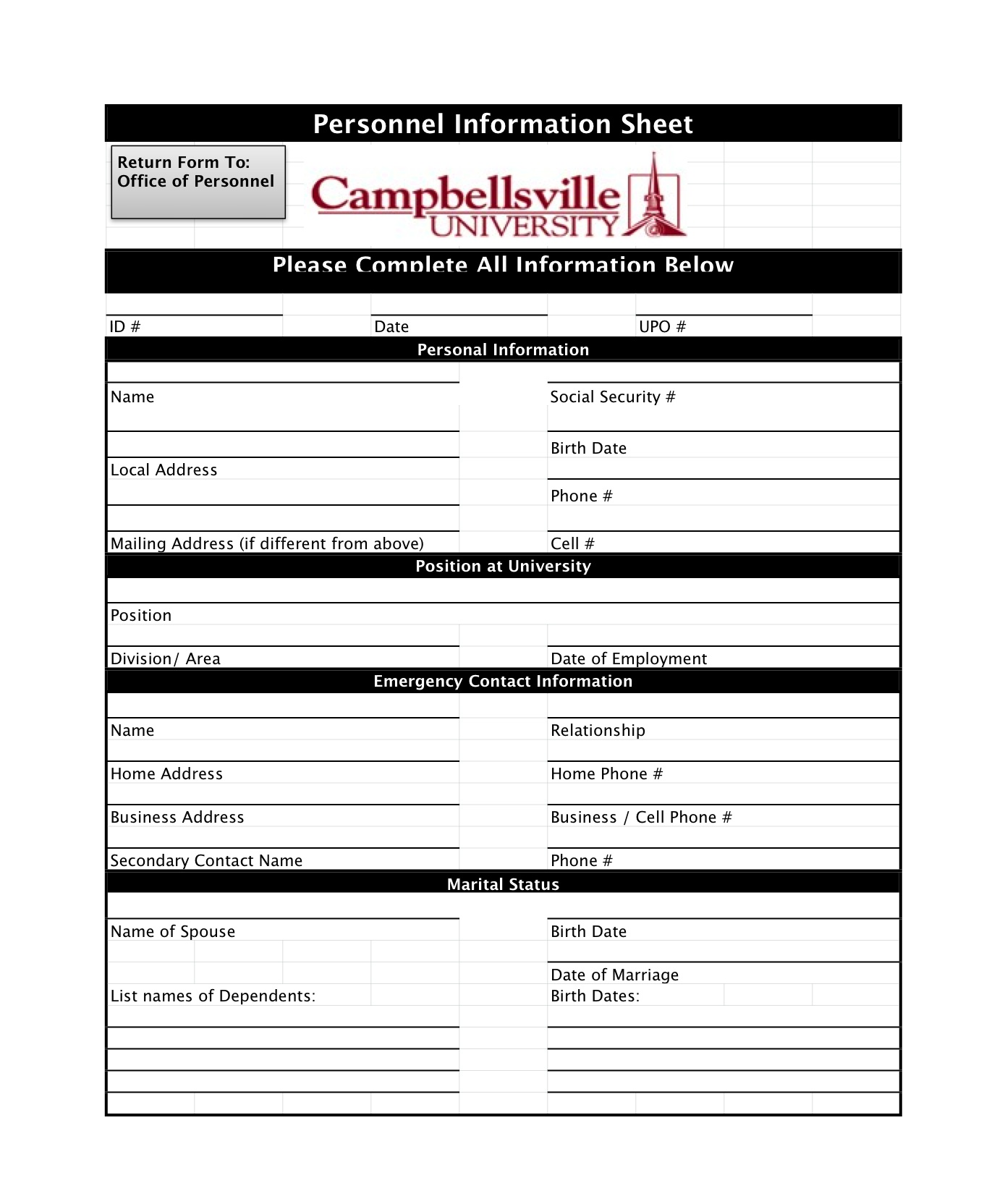 Free Business Credit Application Forms Campbellsville University Hr
