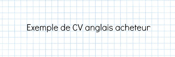 cv anglais production