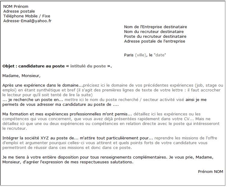 Modèles et exemples Lettre de motivation classique Modèles de CV - modele lettre de motivation