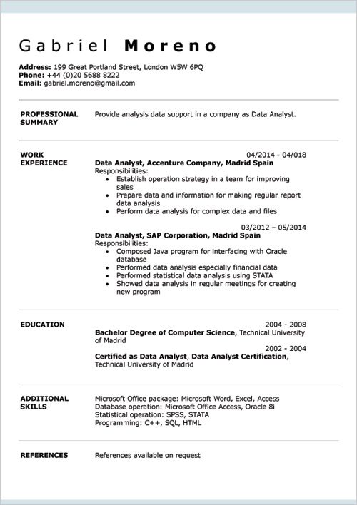cv example word document