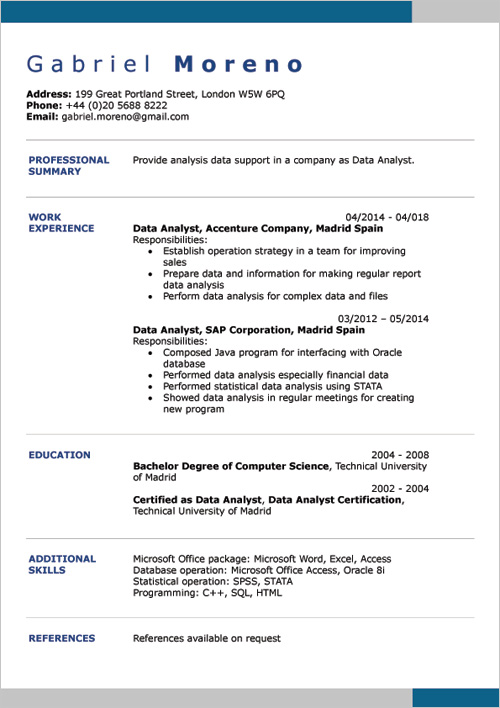 Ms Office Resume Templates English Cv Examples Doc Template & Online Creator