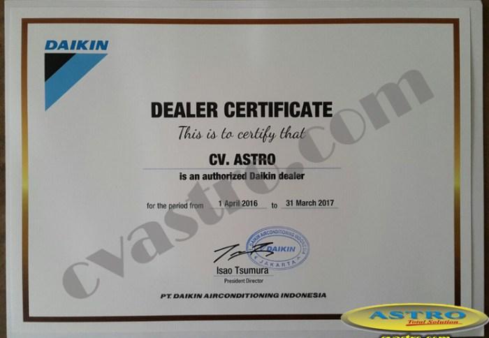 Sertifikat Dealer Daikin Indonesia