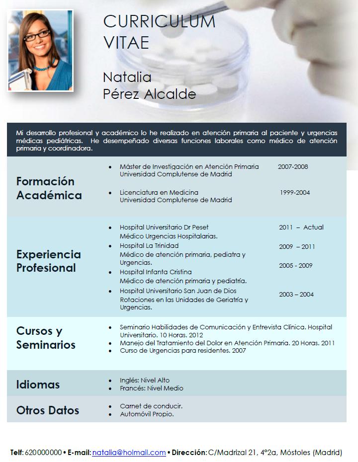 Único Plantilla De Curriculum Vitae De Enfermera De Salud ...