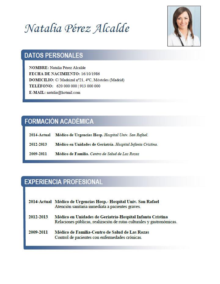 Famoso Muestra Curriculum Vitae Asistente Médico Con Experiencia ...