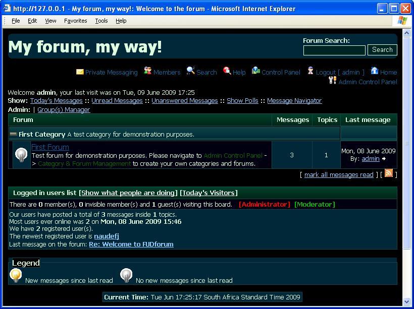 FUDforum Forum Styles » Northern lights theme