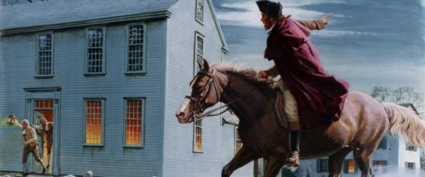 MIDDLESEX COUNTY, MA - APRIL 18:  A painting depicting Paul Revere warning  patriots of the impending British landings in Lexington on April 18, 1775 in Middlesex County, Massachusetts.  (Illustration by Ed Vebell/Getty Images)