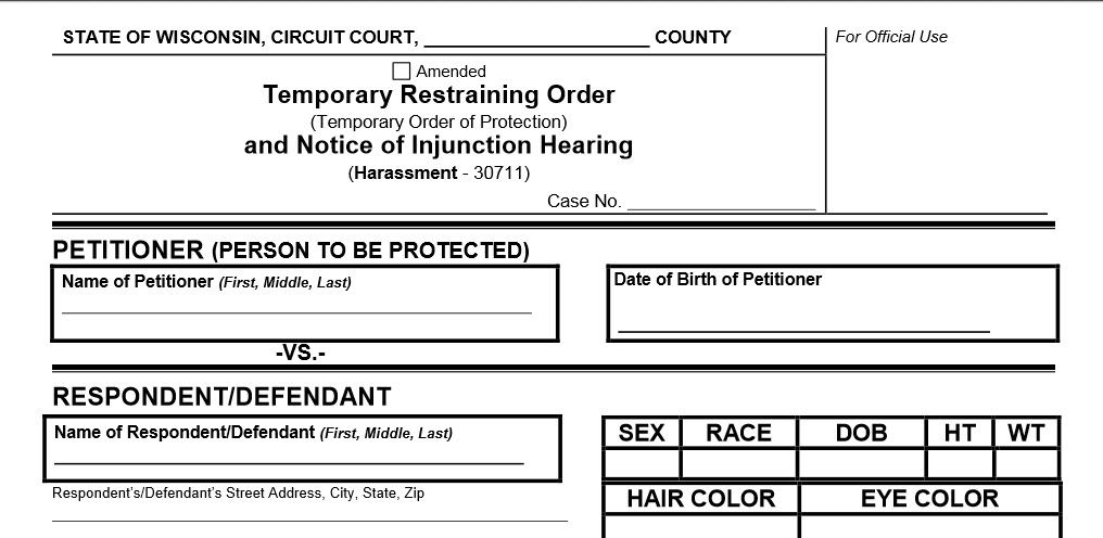 Wisconsin Extends Restraining Orders Beyond State Borders - restraining order form