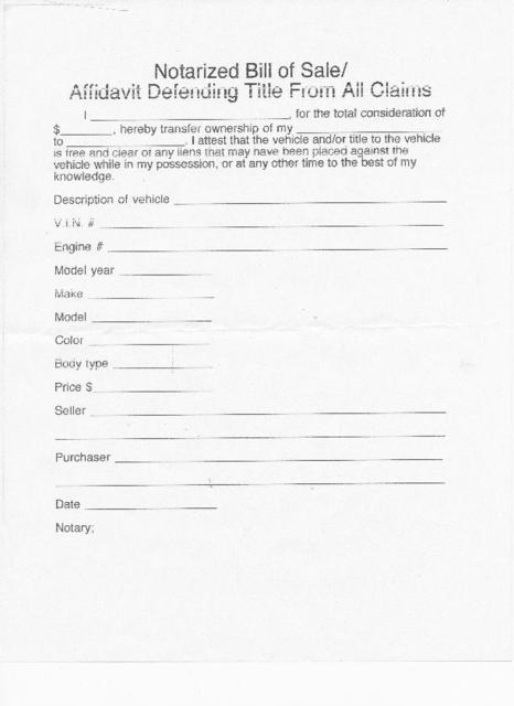 Notarized Bill of Sale - motorcycle bill of sale