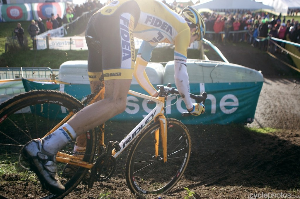 Wout van Aert rides in the third lap of the U23 cyclocross Superprestige race in Ruddervorde.