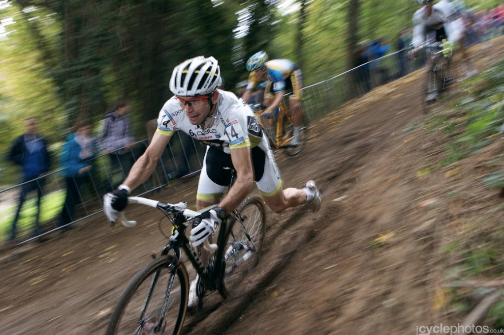 Marcel Wildhaber tackles a muddy descent in the first lap of the elite men's cyclocross World Cup race at Valkenburg.