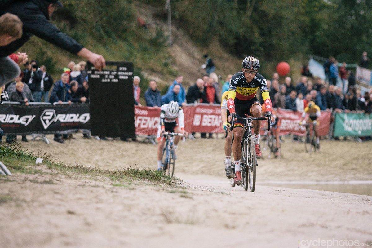 Sven Nys rides in the fifth lap of the Superprestige cyclocross race in Gieten, in 2014. Photo by Balint Hamvas / cyclephotos.co.uk
