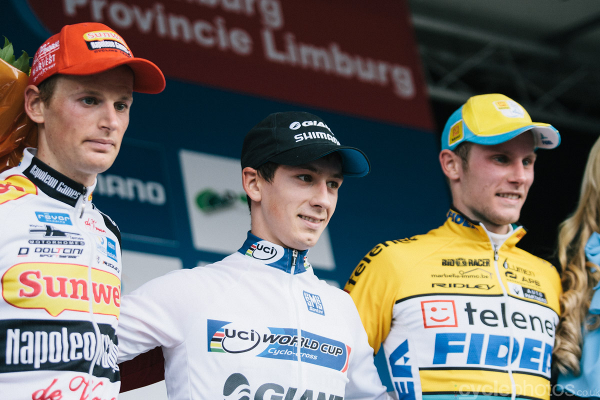 The podium of of the first cyclocross World Cup race of the 2014/2015 season in Valkenburg.