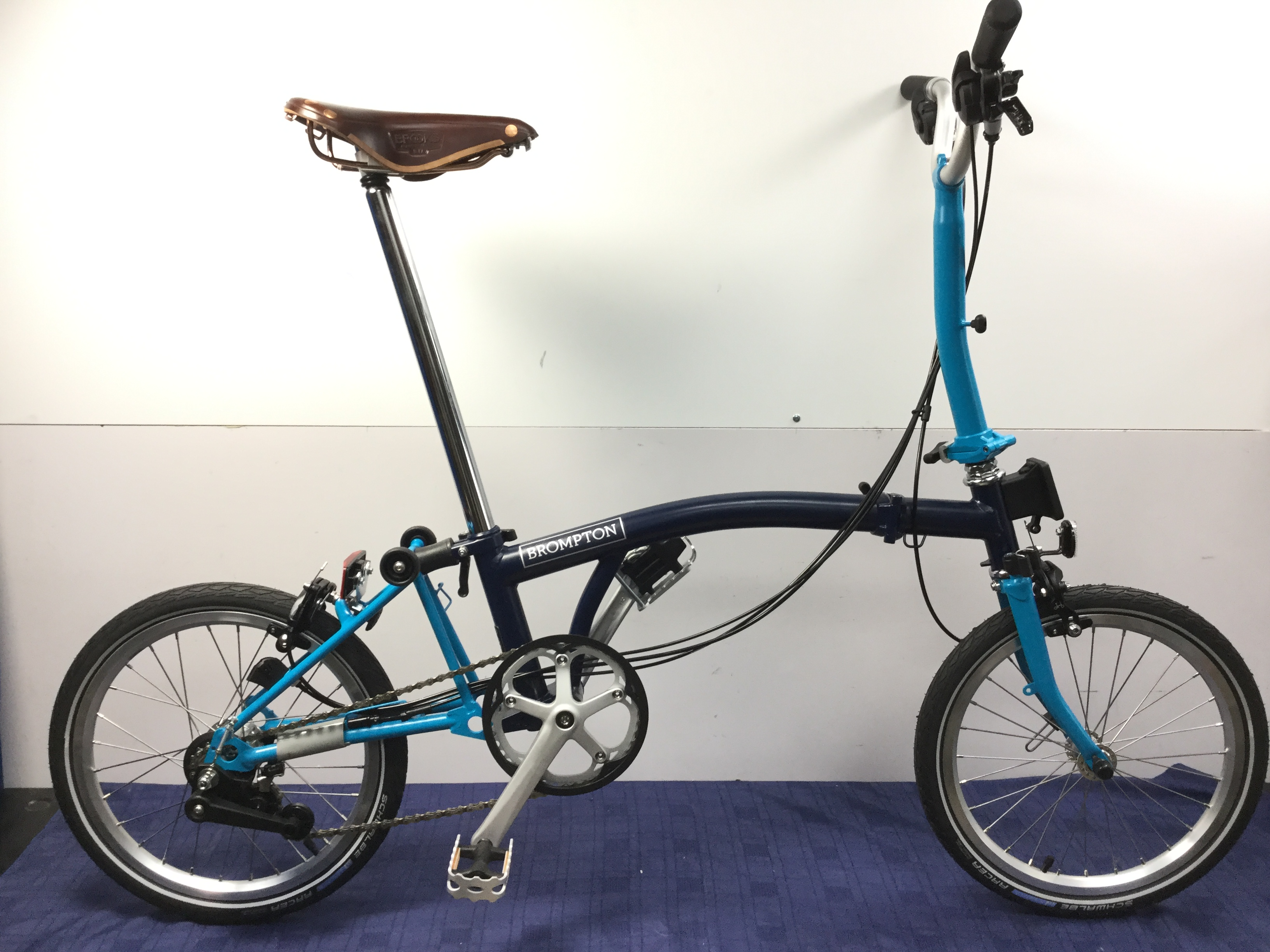 Brompton Bikes Brompton Folding Bicycle M6e Tempest Blue Lagoon Blue