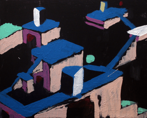 "20""x16"" Building VII, acrylic on canvas, 2015"
