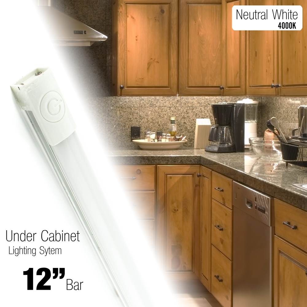Under Cabinet Lighting In Kitchen 12 Inch Led 240 Lumen Lighting Kit Under Cabinet Counter Accent Light Warm White 3000k Or Neutral White 4000k On Off Touch Button Ul Listed