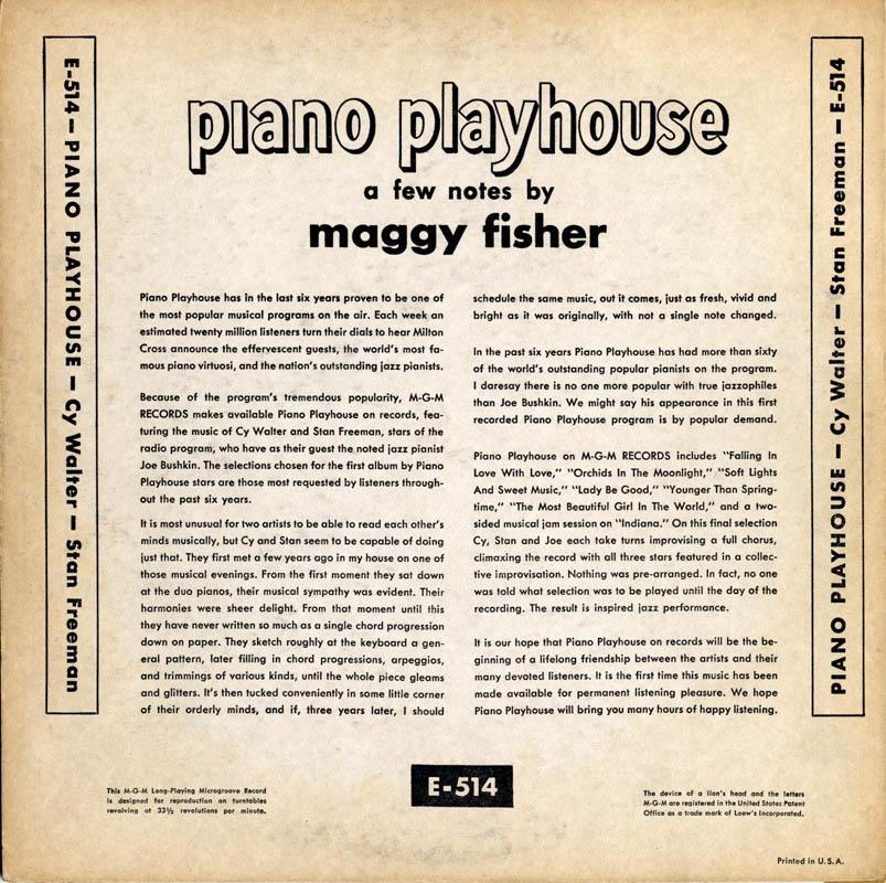 ABC and NBC Piano Playhouse Radio Show Cy Walter