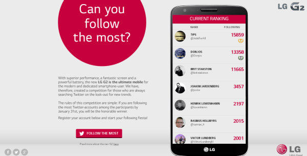 Follow The Most Content LG G2