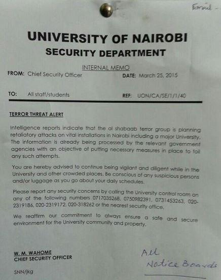 Memo Board Garissa University Attack: Kenyan Universities Warned Of