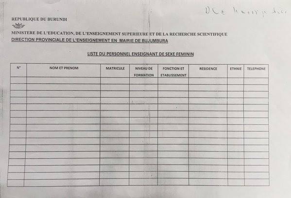 Burundi Information sheets asking for teachers\u0027 \u0027ethnic group - personal info sheets