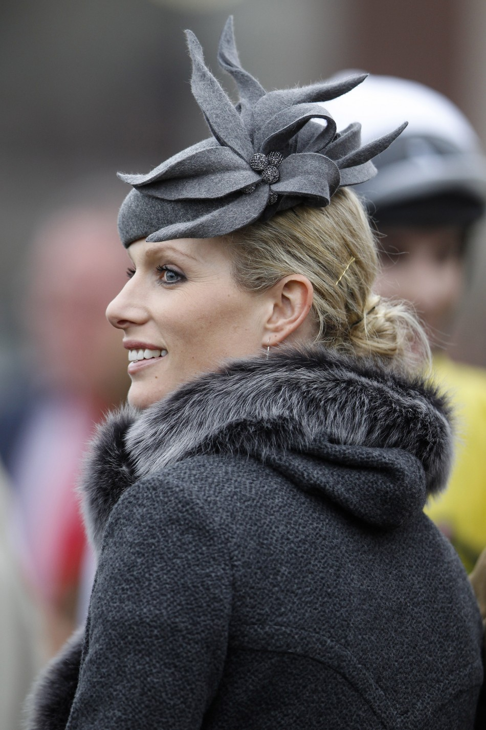 Charcoal Grey Zara Phillips In High Fashion At The Cheltenham Festival