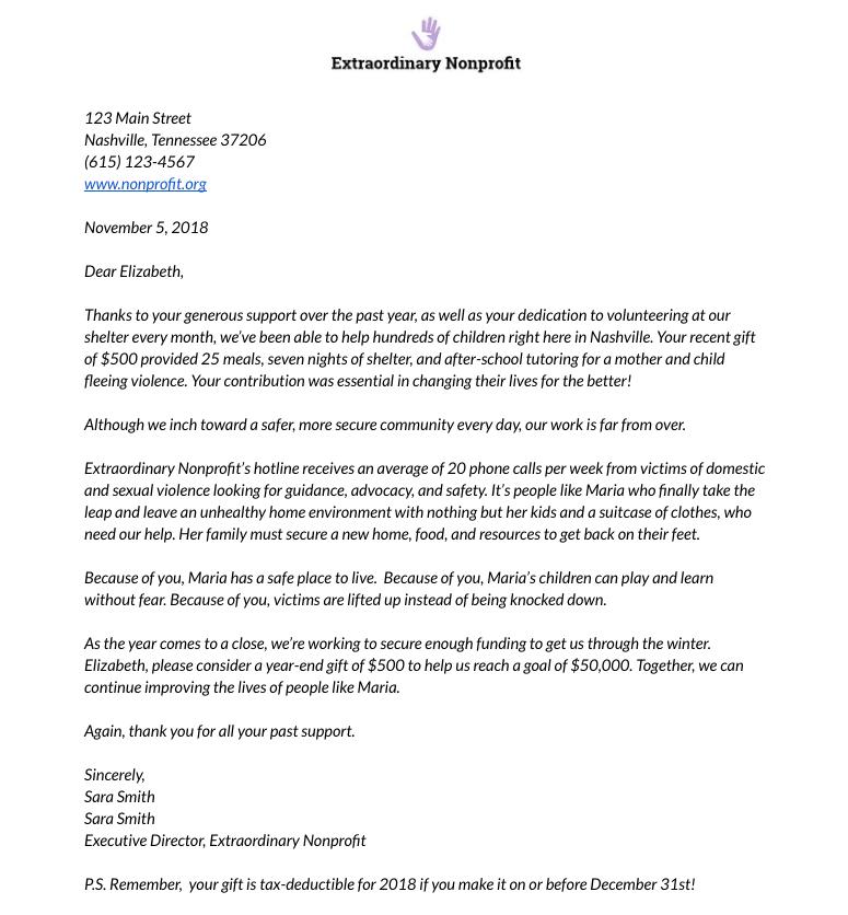 sample of donation letter