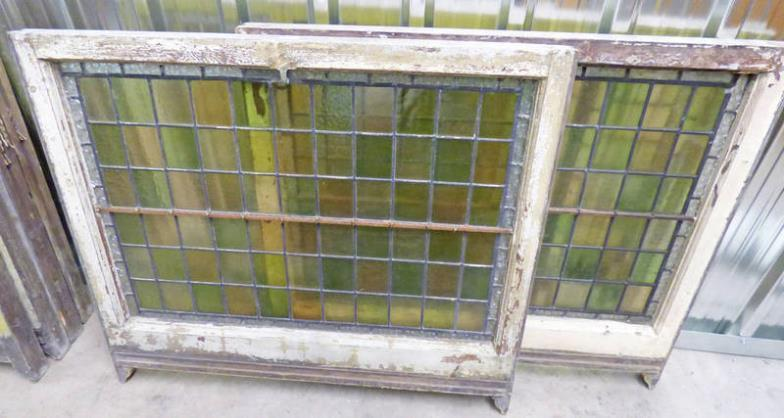 Taylors Auctions  2 FRAMED LEADED GLASS WINDOWS -2- 92 X 106CM OVER