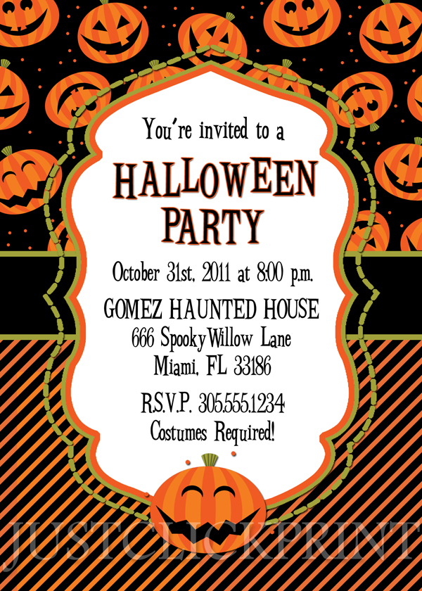 Happy Pumkins Halloween Party Invitation Printable · Just Click - halloween invitation