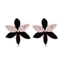 Rhinestone Black Flower Earrings on Storenvy