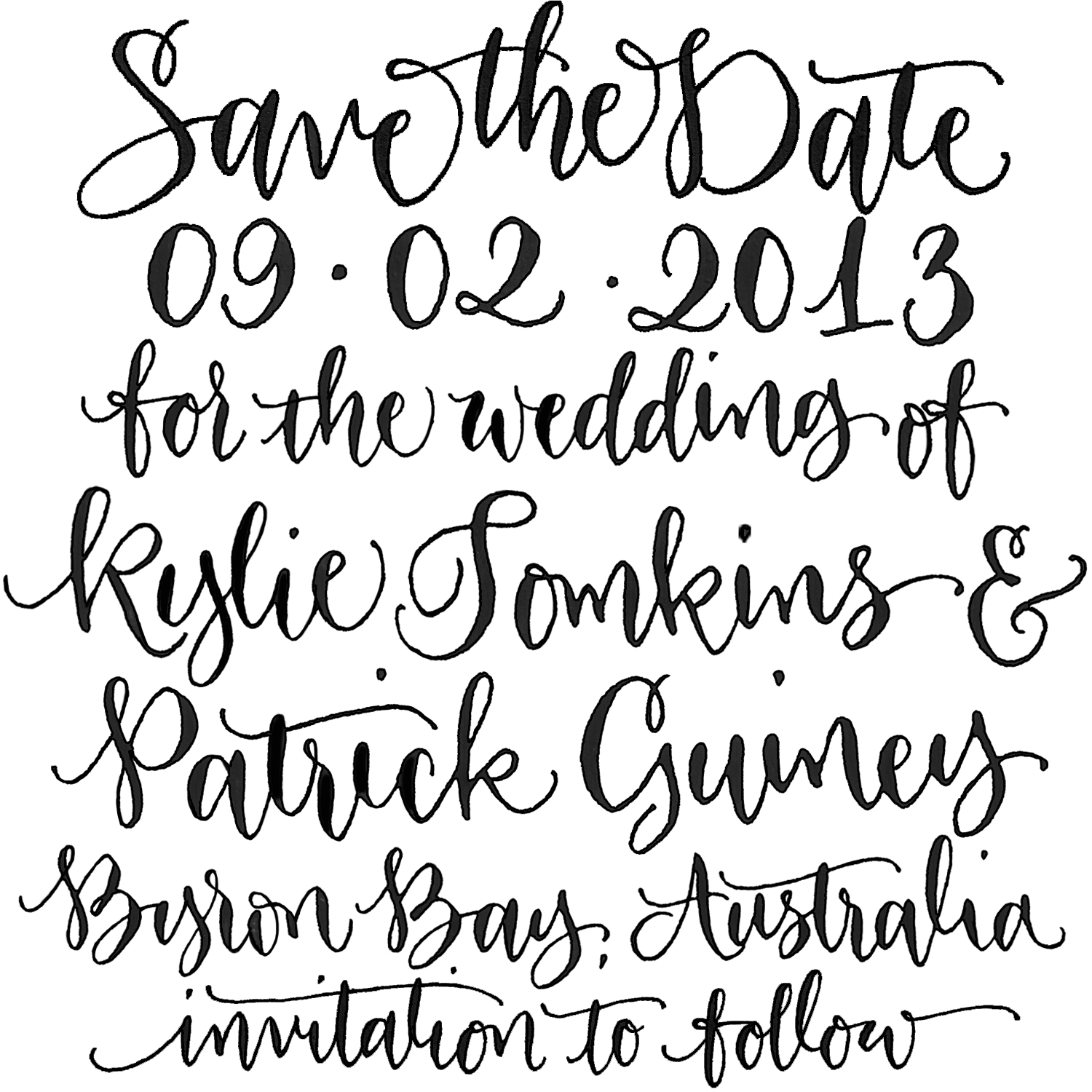 Calligraphy Online Store Save The Date Custom Handwritten Calligraphy Stamp