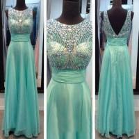 blue prom dress, long prom dress, 2015 prom dress, popular ...
