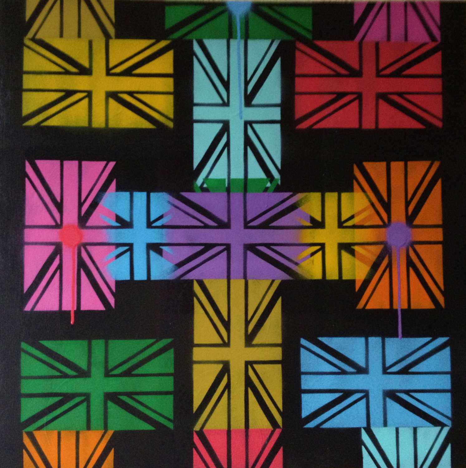 Bright Colours Painting Painting Of Cross Made With Union Jack Flags Britain Bright Colours Stencils Spray Paints United Kingdom Abstract Urban Pop Crucifix Canvas From