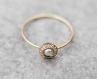 White pearl wedding ring with diamonds in 14k gold, pearl ...
