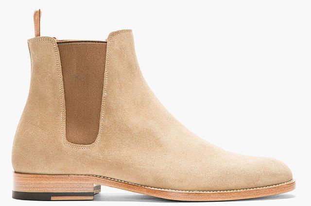 Handmade Mens Beige Chelsea Suede Leather Boots Men Suede