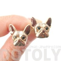 Small French Bulldog Shaped Dog Themed Enamel Stud ...