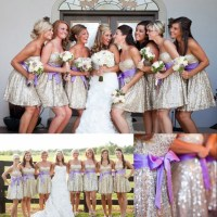 Sweetheart Bridesmaid Dress with a Purple Sash, Shining ...