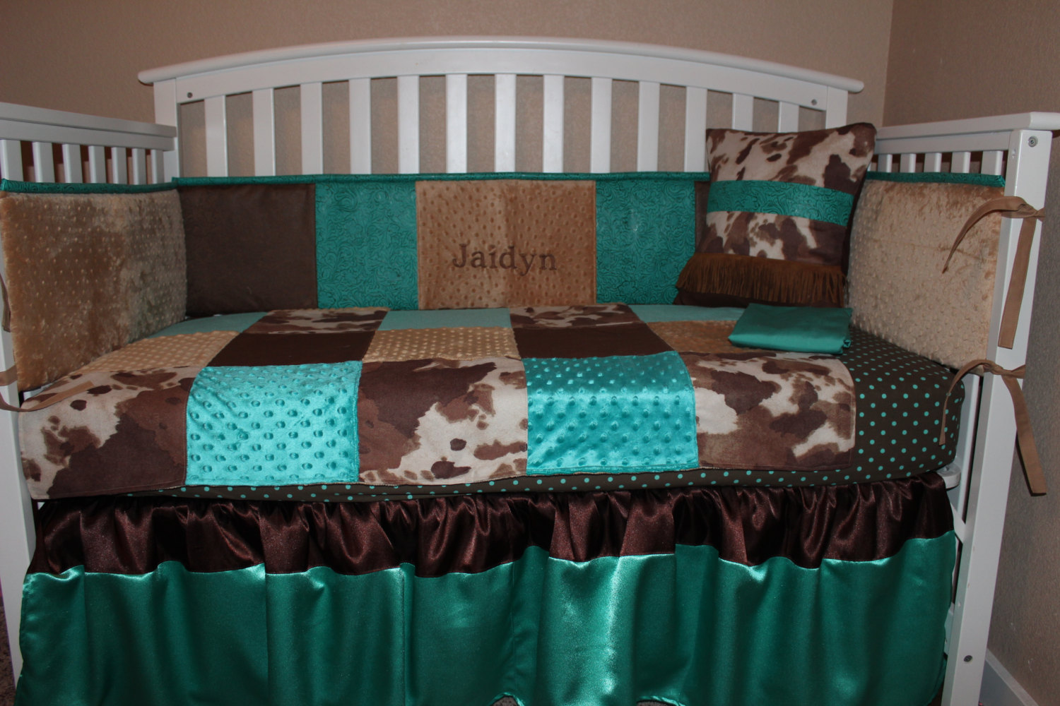 Full Crib Bedding Sets Turquoise And Brown Western Embossed 6 Piece Crib Bedding Set