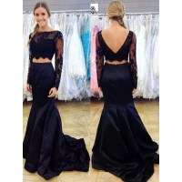 Navy Blue Two Piece Prom Dress, Long Sleeve Lace Prom ...