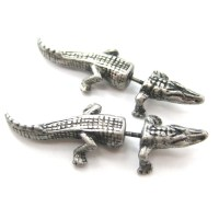 Fake Gauge Crocodile Alligator Animal Stud Earrings in ...