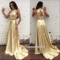 Sweetheart Girl | Unique sequin two pieces gold long prom ...
