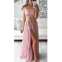 Off shoulder lace prom dresses, short sleeve prom dresses ...
