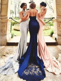 lace mermaid bridesmaid dresses, long Halter bridesmaid ...