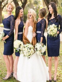 Short Navy Blue Bridesmaid Dress, One sleeve bridesmaid ...